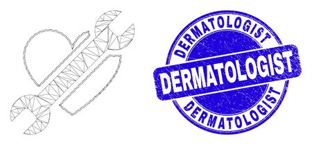 Web carcass repair heart icon and Dermatologist seal stamp. Blue vector rounded grunge seal stamp with Dermatologist caption. Abstract frame mesh polygonal model created from repair heart icon.