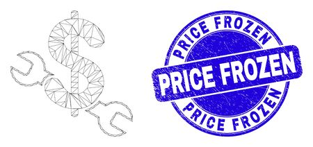 Web carcass repair price icon and Price Frozen stamp. Blue vector round grunge seal stamp with Price Frozen text. Abstract frame mesh polygonal model created from repair price icon.