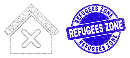 Web carcass closed house pictogram and Refugees Zone watermark. Blue vector rounded textured watermark with Refugees Zone phrase. Illustration