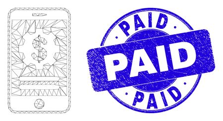Web carcass mobile financial options icon and Paid seal. Blue vector round scratched seal stamp with Paid phrase. Abstract carcass mesh polygonal model created from mobile financial options pictogram.
