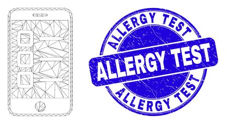 Web mesh mobile test items icon and Allergy Test seal stamp. Blue vector round textured stamp with Allergy Test title. Abstract carcass mesh polygonal model created from mobile test items icon. Illusztráció