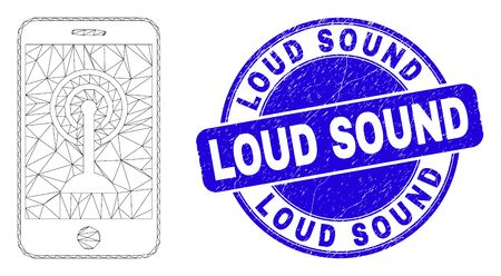Web carcass smartphone wi-fi hotspot pictogram and Loud Sound seal stamp. Blue vector rounded distress seal stamp with Loud Sound message. Иллюстрация