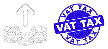 Web carcass spend coins pictogram and Vat Tax seal stamp. Blue vector rounded scratched seal stamp with Vat Tax text. Abstract carcass mesh polygonal model created from spend coins pictogram.