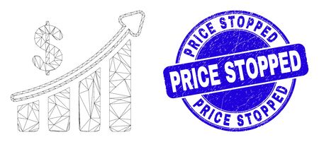 Web carcass success financial chart pictogram and Price Stopped seal. Blue vector round distress seal stamp with Price Stopped message.