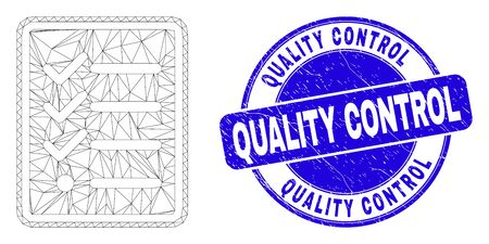 Web carcass task list page pictogram and Quality Control seal stamp. Blue vector rounded grunge seal stamp with Quality Control text.