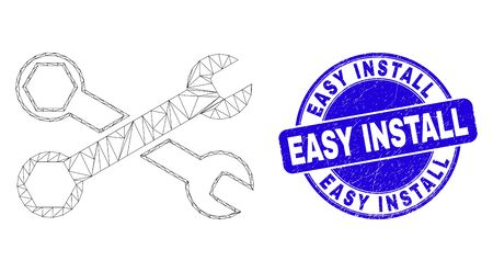 Web mesh wrenches icon and Easy Install stamp. Blue vector round textured seal stamp with Easy Install caption. Abstract frame mesh polygonal model created from wrenches icon. Ilustrace