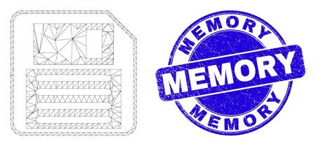 Web carcass floppy disk icon and Memory watermark. Blue vector rounded textured watermark with Memory text. Abstract frame mesh polygonal model created from floppy disk icon.