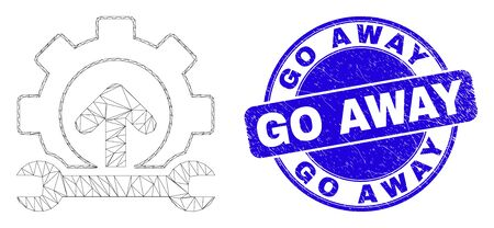 Web carcass forward gear repair icon and Go Away seal stamp. Blue vector round scratched seal with Go Away text. Abstract carcass mesh polygonal model created from forward gear repair icon. Stock Illustratie