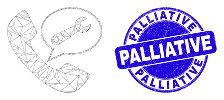 Web mesh phone service message icon and Palliative seal stamp. Blue vector round distress stamp with Palliative caption. Abstract carcass mesh polygonal model created from phone service message icon.