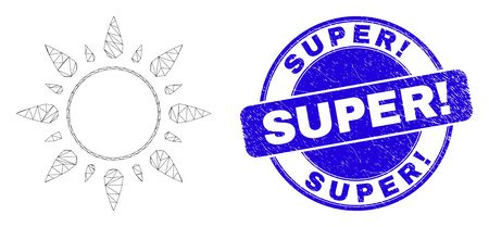 Web carcass sunshine pictogram and Super! seal stamp. Blue vector rounded distress stamp with Super! phrase. Abstract carcass mesh polygonal model created from sunshine pictogram. Vectores