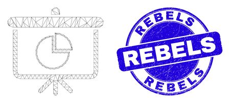 Web mesh pie chart demonstration board icon and Rebels seal stamp. Blue vector round distress seal stamp with Rebels title.