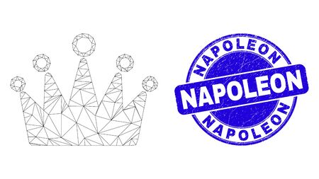Web carcass crown pictogram and Napoleon seal. Blue vector rounded textured seal with Napoleon text. Abstract frame mesh polygonal model created from crown pictogram.