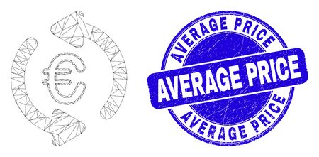 Web carcass update euro pictogram and Average Price seal stamp. Blue vector rounded textured seal stamp with Average Price phrase.