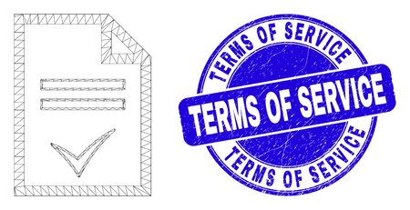 Web carcass agreement page icon and Terms of Service seal stamp. Blue vector rounded grunge seal stamp with Terms of Service message.