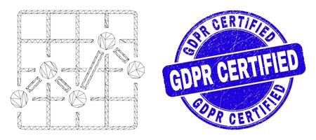Web mesh chart grid pictogram and Gdpr Certified seal. Blue vector round scratched seal stamp with Gdpr Certified caption. Abstract frame mesh polygonal model created from chart grid pictogram. Vektorgrafik