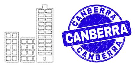 Web carcass city buildings pictogram and Canberra watermark. Blue vector round grunge watermark with Canberra phrase. Abstract carcass mesh polygonal model created from city buildings pictogram.
