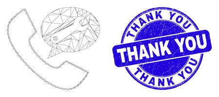Web mesh phone service message icon and Thank You stamp. Blue vector rounded grunge stamp with Thank You phrase. Abstract frame mesh polygonal model created from phone service message icon.  イラスト・ベクター素材