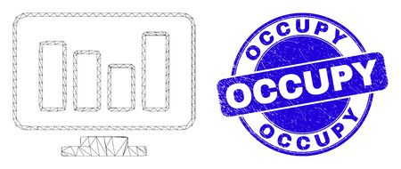 Web carcass online chart pictogram and Occupy seal stamp. Blue vector rounded grunge seal stamp with Occupy message. Abstract frame mesh polygonal model created from online chart pictogram.