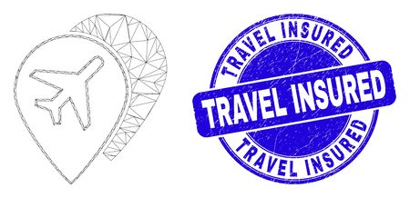 Web mesh airport map markers pictogram and Travel Insured seal stamp. Blue vector rounded scratched seal stamp with Travel Insured caption.