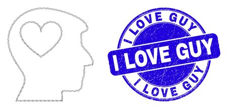 Web mesh lovely heart man head pictogram and I Love Guy stamp. Blue vector round textured stamp with I Love Guy text.