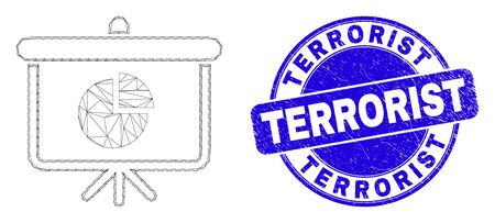 Web carcass pie chart demonstration board icon and Terrorist seal stamp. Blue vector round scratched seal stamp with Terrorist message.