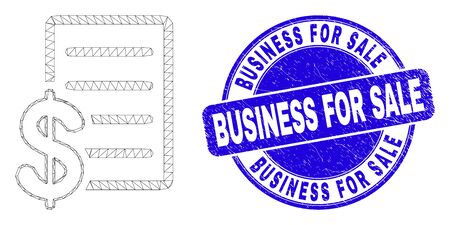 Web mesh price list pictogram and Business for Sale seal stamp. Blue vector round grunge seal stamp with Business for Sale title.