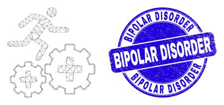Web mesh patient run over gears icon and Bipolar Disorder watermark. Blue vector round grunge watermark with Bipolar Disorder title. Vector Illustration