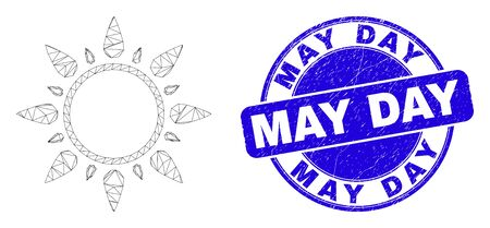 Web mesh sun icon and May Day seal stamp. Blue vector round textured stamp with May Day phrase. Abstract carcass mesh polygonal model created from sun icon. Wire carcass flat mesh in vector format. Vectores