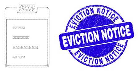 Web carcass text pad pictogram and Eviction Notice seal stamp. Blue vector rounded distress seal with Eviction Notice caption. Abstract carcass mesh polygonal model created from text pad pictogram.