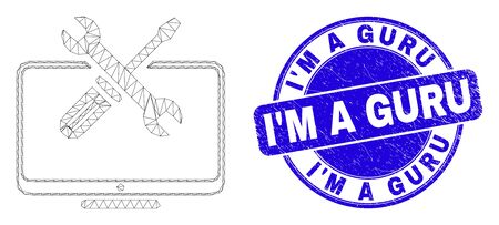 Web mesh desktop tools pictogram and IM a Guru seal stamp. Blue vector round scratched seal stamp with IM a Guru message. Abstract carcass mesh polygonal model created from desktop tools icon.
