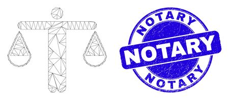 Web carcass judge pictogram and Notary watermark. Blue vector rounded textured watermark with Notary text. Abstract frame mesh polygonal model created from judge pictogram.