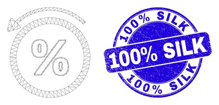 Web mesh percent back pictogram and 100% Silk seal stamp. Blue vector round distress stamp with 100% Silk message. Abstract frame mesh polygonal model created from percent back pictogram. 矢量图像