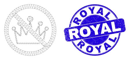 Web mesh stop crown pictogram and Royal seal stamp. Blue vector round textured seal stamp with Royal phrase. Abstract frame mesh polygonal model created from stop crown pictogram.
