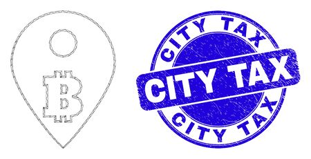 Web carcass bitcoin map marker icon and City Tax stamp. Blue vector round distress stamp with City Tax title. Abstract carcass mesh polygonal model created from bitcoin map marker icon.