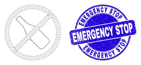 Web mesh stop drinking pictogram and Emergency Stop seal stamp. Blue vector round textured seal stamp with Emergency Stop caption.