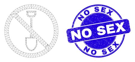 Web mesh stop digging icon and No Sex watermark. Blue vector rounded grunge seal stamp with No Sex caption. Abstract carcass mesh polygonal model created from stop digging icon.