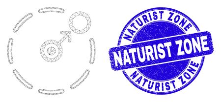 Web carcass move to circle perimeter icon and Naturist Zone seal stamp. Blue vector rounded textured stamp with Naturist Zone message. Vettoriali