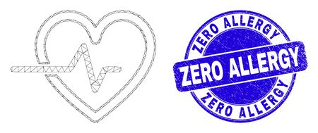 Web carcass heart pulse pictogram and Zero Allergy seal. Blue vector round distress seal stamp with Zero Allergy title. Abstract carcass mesh polygonal model created from heart pulse pictogram.