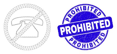 Web mesh forbidden phone calls icon and Prohibited seal. Blue vector rounded grunge stamp with Prohibited phrase. Abstract carcass mesh polygonal model created from forbidden phone calls icon.  イラスト・ベクター素材