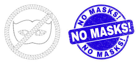Web carcass stop privacy pictogram and No Masks! watermark. Blue vector round textured seal stamp with No Masks! text. Abstract carcass mesh polygonal model created from stop privacy pictogram.
