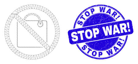 Web carcass stop shopping icon and Stop War! seal stamp. Blue vector round textured stamp with Stop War! message. Abstract carcass mesh polygonal model created from stop shopping icon.