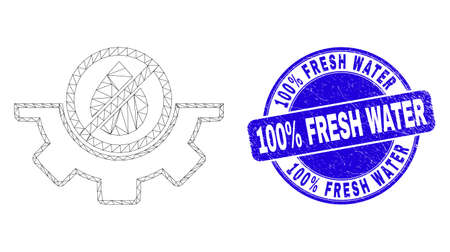 Web carcass water service pictogram and 100% Fresh Water seal stamp. Blue vector round textured seal stamp with 100% Fresh Water message. Illustration