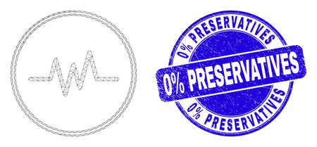 Web carcass pulse signal icon and 0% Preservatives seal stamp. Blue vector round textured seal stamp with 0% Preservatives text.