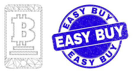 Web carcass mobile bitcoin bank icon and Easy Buy seal. Blue vector rounded distress watermark with Easy Buy phrase. Abstract carcass mesh polygonal model created from mobile bitcoin bank icon.