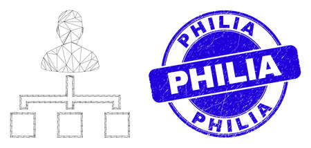 Web carcass user links icon and Philia seal stamp. Blue vector rounded textured seal stamp with Philia caption. Abstract frame mesh polygonal model created from user links pictogram.