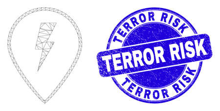 Web mesh electric map marker icon and Terror Risk seal stamp. Blue vector rounded distress seal with Terror Risk title. Abstract frame mesh polygonal model created from electric map marker icon.