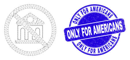 Web carcass forbidden bank pictogram and Only for Americans seal. Blue vector round scratched stamp with Only for Americans title.