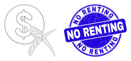 Web mesh forbidden dollar pictogram and No Renting seal stamp. Blue vector round scratched seal stamp with No Renting title.