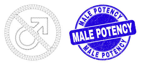 Web carcass forbidden male symbol pictogram and Male Potency stamp. Blue vector round grunge seal stamp with Male Potency message. Illustration