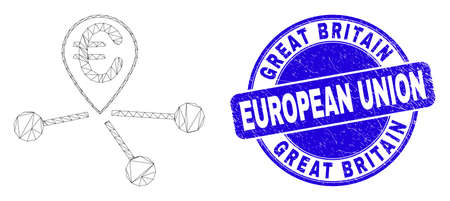 Web carcass euro location links icon and Great Britain European Union watermark. Blue vector round distress watermark with Great Britain European Union title.